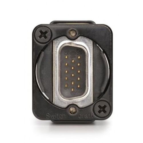 EH-1735 15 way D Male/Female Through Panel Coupler Black Bodied. Switchcraft Part Number EHDDB15MFB