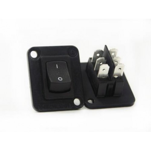 EH-5225 Switchcraft EH Series with Rocker Switch In Black Flange. Switchcraft Part Number EHRRSLB