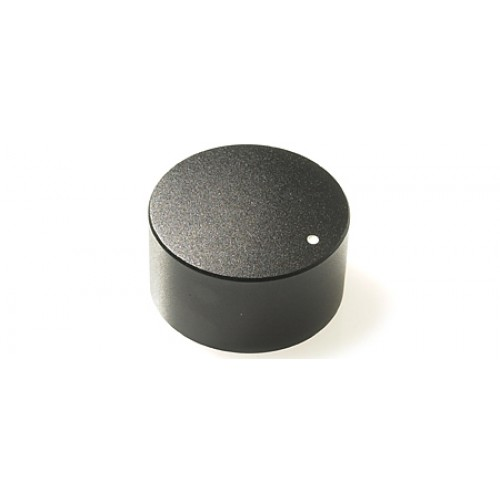 KM-2800 CHK Control Knob Black Satin Finish 30x16mm  6mm splined fixing with white marker dot.