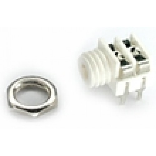 JC-6250BBW   3.5mm White Mono Switched Jack Socket with panel fixing nut and PCB Pins.
