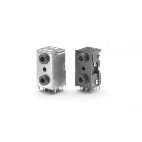 JS-3594 3.5mm Dual professional jack socket with full shielding. Switchcraft part number 35RAPC7JS