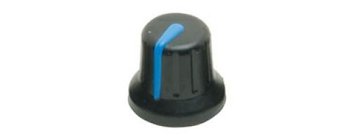 KAP92002B Two Colour Soft Touch Knob 6mm Splined Fitting, Black Body, Blue Marker Line