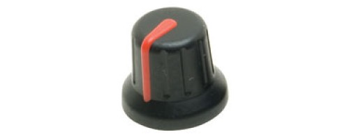 KAP-92002R Two Colour Soft Touch Knob, 6mm Splined fitting, Black body, Red Marker Line