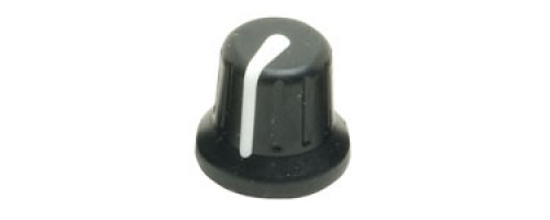 KAP-92002W Two Colour Soft Touch Knob, 6mm Splined fitting,Black body, White marker line