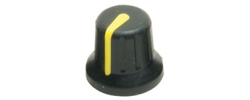 KAP-92002Y, Two Colour Soft Touch Knob, 6mm Splined Fixing, Black Body, Grey Marker Line