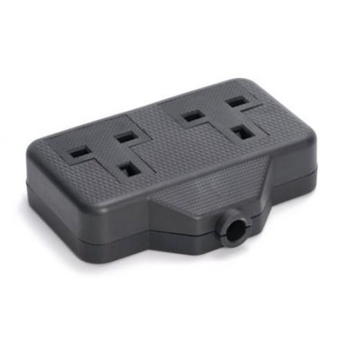 PE-5485 Heavy duty 2 gang black rubber trailing socket