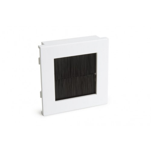 WP-4007  50 x 50mm Euro module insert with white plastic frame & black brush