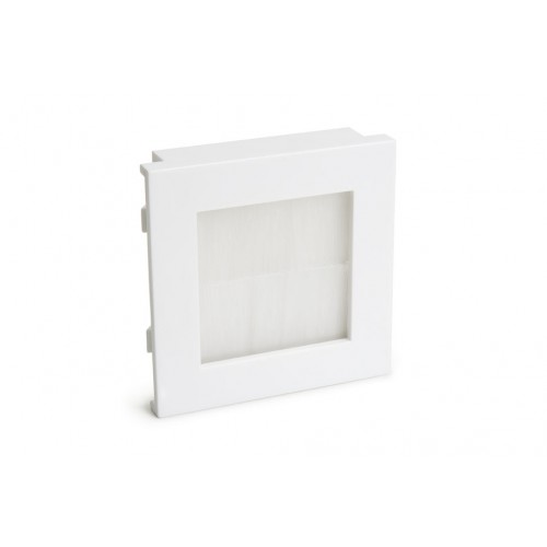 WP-4008  50 x 50mm Euro module insert with white plastic frame & white brush