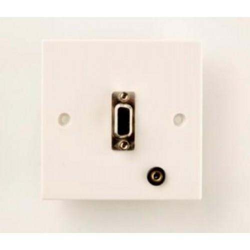 WP-7205: SVGA Wall Plate + 3.5mm Stereo Jack Socket