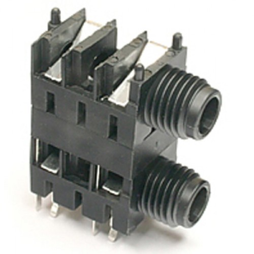 JK-1122 6.35mm Mono Dual Stacked Jack Socket Switched (open)