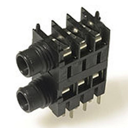 JK-1212 6.35mm Stereo Switched (TRSx2) Dual Stacked Jack Socket PCB Mount. 3.8mm thick spacer