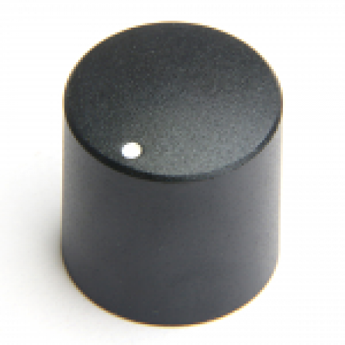 KM-2100 CHK Control Knob Black Satin Finish 6mm splined fixing with white marker dot.