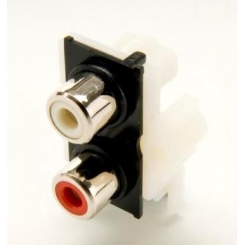 PS-2130, Nickel Plated RAPCB Dual Phono Socket
