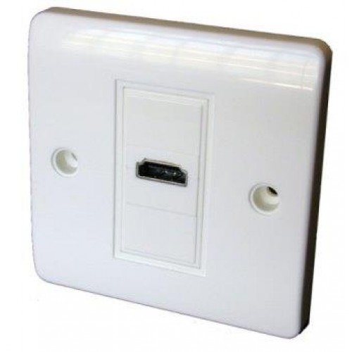 WP-8730: Economy White plastic HDMI Socket wall plate